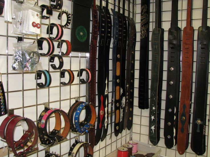 New display just set up for our leather dog collars, wristbands and belts.  Visit our custom leather shop at 88 Woodlawn Road, Dartmouth, Nova Scotia, Canada or our leather web store at http://www.leathersmithdesigns.com/ #LeatherStore #Dartmouth #DogCollars #Wristbands #GuitarStraps