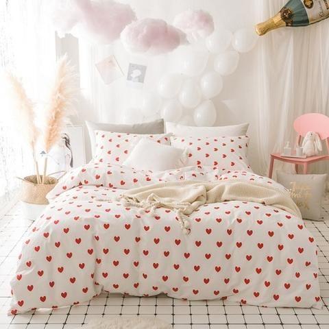 Hearts Printed 100 Cotton Bedding Set Cotton Bedding Sets Pink Duvet Cover Bedding Sets