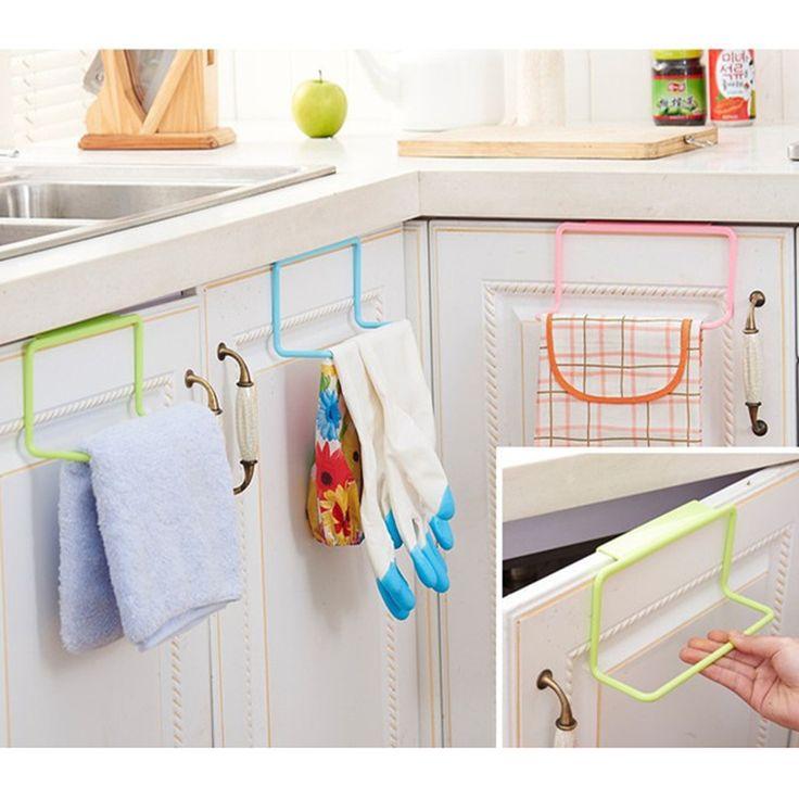 Plastic Towel Rack Kitchen Cupboard Hanging Wash Cloth Organizer Sponge Holder Wardrobe Cabinet Storage Rack Bathroom Shelves