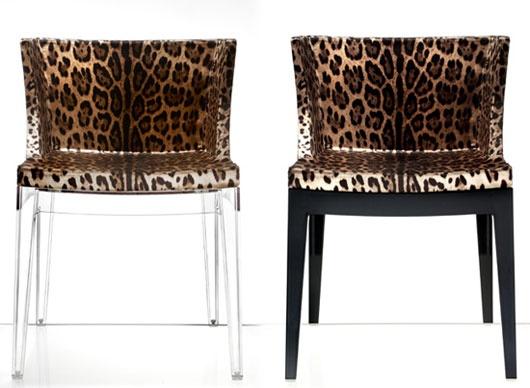 #designerPartnership Philippe Starck's Mademoiselle chair, Dolce & Gabbana silk leopard print