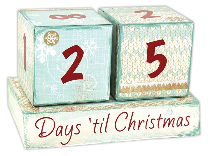 "Mod podge ""Days 'till Christmas"" blocks"
