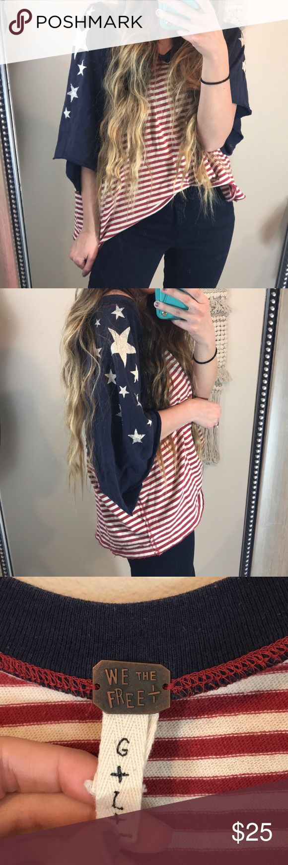 We The Free Stars &Stripes Raw Hem Oversized Shirt We the free  Size large  Batwing  Red & white striped with navy blue sleeves with stars Shirt was made to look more distressed, (faded stars, raw hem) Lightly worn, in good condition! Free People Tops Tees - Short Sleeve
