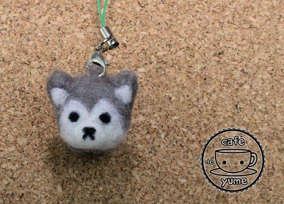 Needle Felted Husky Plushie Charm Key Chain Dog by CafeDeYume