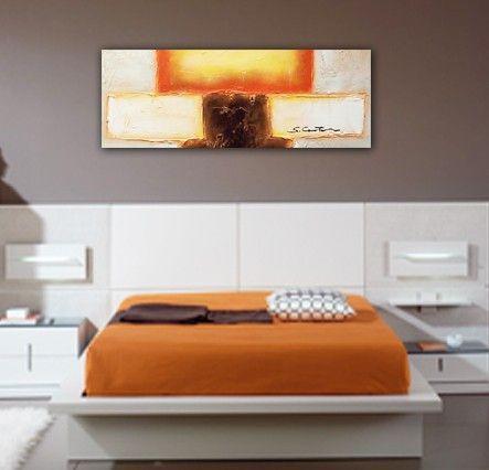 cuadros abstractos con textura pintado a mano con un formato alargado horizontal ideal para colocar encima