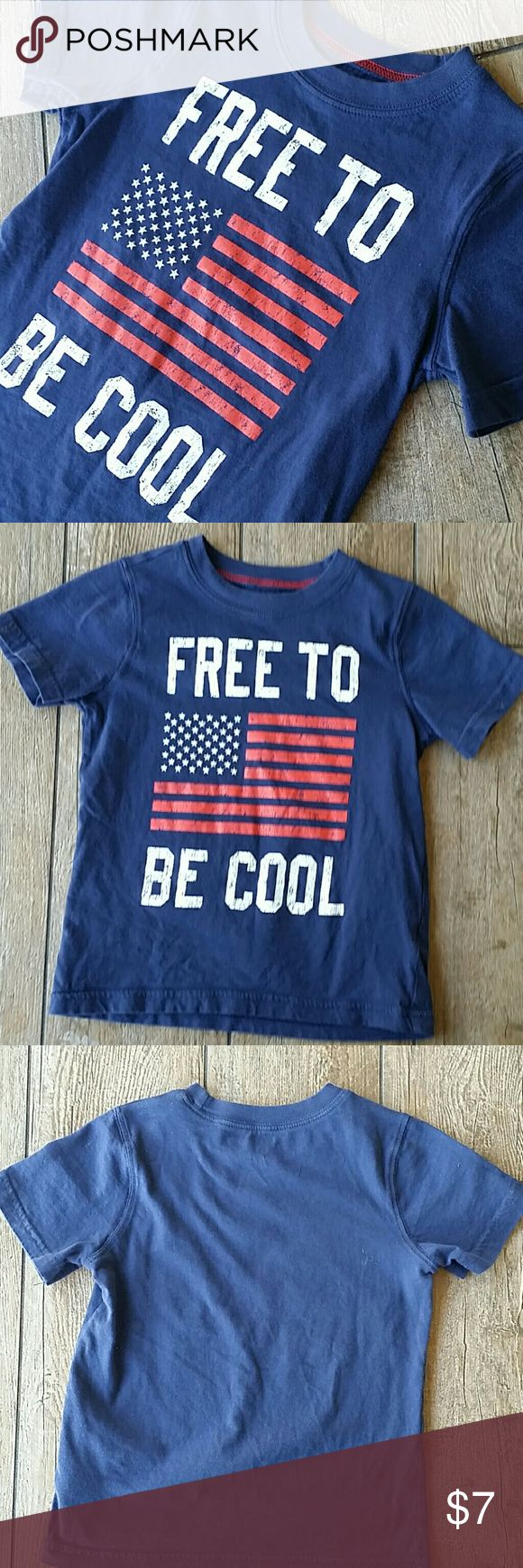 "🎆CARTER'S AMERICANA SHIRT🎆 Dark Navy blue shirt sleeve tee Distressed flag and ""FREE TO BE COOL"" on front Solid back No rips, stains, pilling or fading Carter's Shirts & Tops Tees - Short Sleeve"