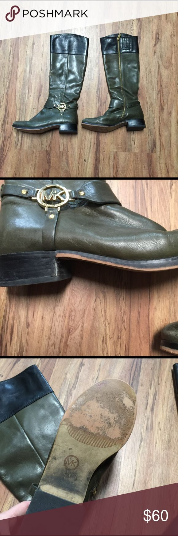 Michael Kors leather riding boots size 8 Definitely have been worn as shown in the pictures. Still have a lot of life left in them Michael Kors Shoes Winter & Rain Boots
