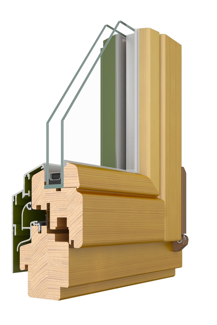 Style 68 Alu; Double glazed, inward opening, tilt & turn window. Made from Pine, Meranti or Oak timber with aluminium cladding externally.