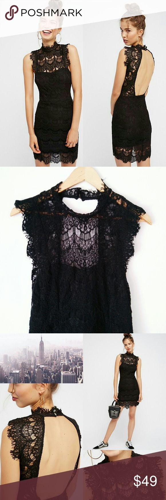 """Free People daydream lace mini dress Free People daydream lace mini dress. Size M  Bodycone lace mini dress with a high neck and scalloped trim. Frayed cap sleeves. Open cutout in back. Partially lined. 60% cotton, 40% nylon  Measurements- Length 34.8"""" 