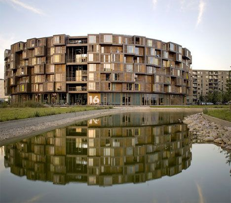 Tietgen Student Hall in the Ørestad district of Copenhagen, is a circular seven-story building with 360 rooms. Designed by Lundgaard  Tranberg Arkitekter.