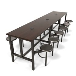 Large collaborative break room table with a powered standing height surface and swivel out seats.