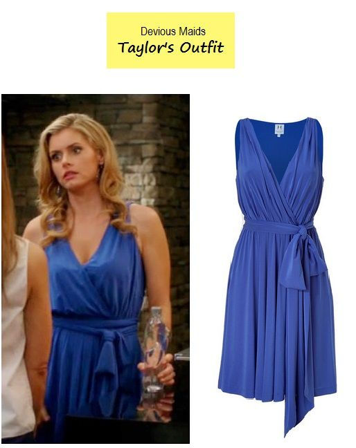 "On the blog: Taylor's (Brianna Brown) ocean blue wrap around swing dress | Devious Maids - ""Cleaning Out the Closet"" (Ep. 111) #tvstyle #outfits #fashion #tvfashion"