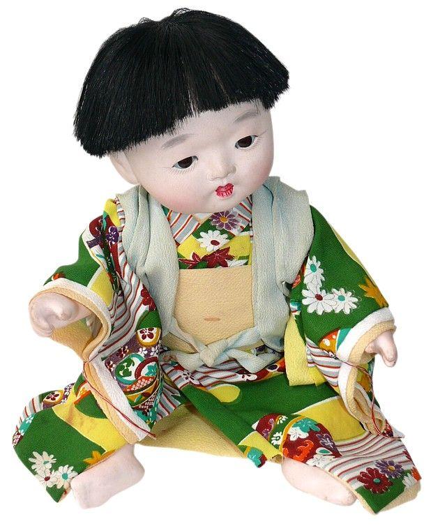 Japanese Antique Ichimatsu doll, little Boy in green kimono, 1930's
