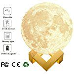 "Extra Large! 7.09""/18cm Full Moon Lamp LED 3D Printing USB Rechargeable Dimmable Luna Baby Night Light Touch Sensor 2 Brightness White/Warm Modern Floor Desk Bedroom Home Decorative Novelty Lights"