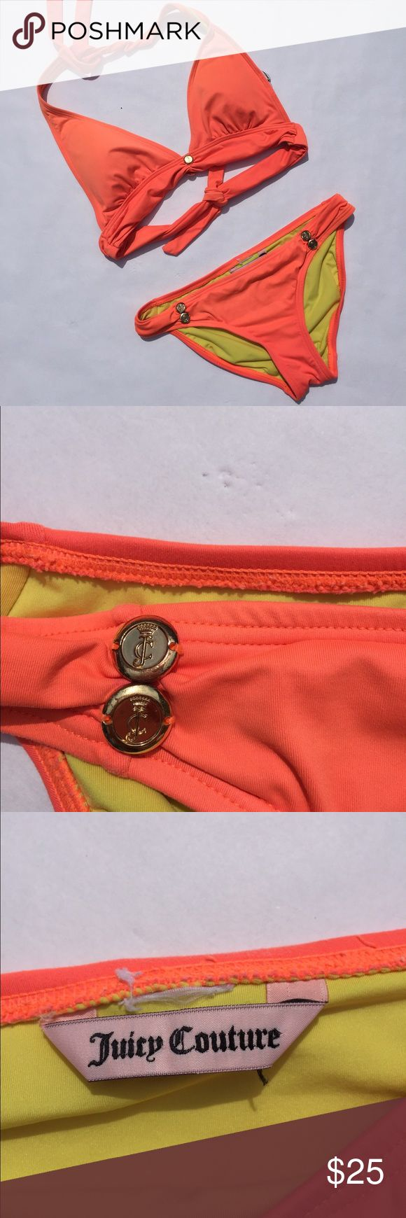 Juicy Couture Bikini Neon orange bikini. No stains or pulls in fabric. Elastic is still in great condition. Tags have been removed for comfort but it's a medium top and bottom. Padding in top Juicy Couture Swim Bikinis