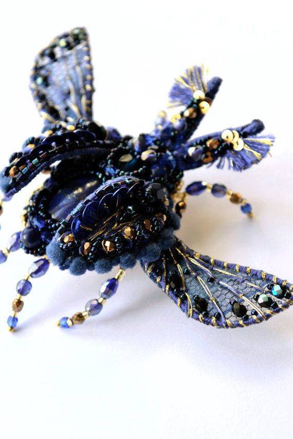 Royal blue Beetle brooch designer's jewelry by PurePearlBoutique