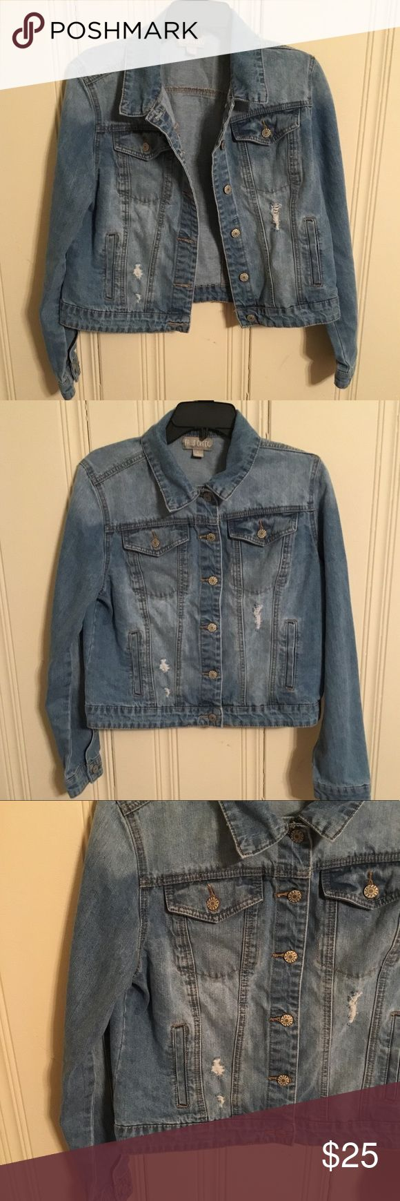 NWOT Falls Creek distressed faded jean jacket NWOT (My stepmom wanted the bridesmaids to wear these for pictures in her wedding, but we never did.)  Light blue jean faded button up jacket  Size large  True to size, would fit a medium if you like it somewhat loose  Please let me know if you have any questions or need more specific measurements!  A lot of my items sell within the first three days of listing so get it while you can!  Bundle and save! Jackets & Coats Jean Jackets