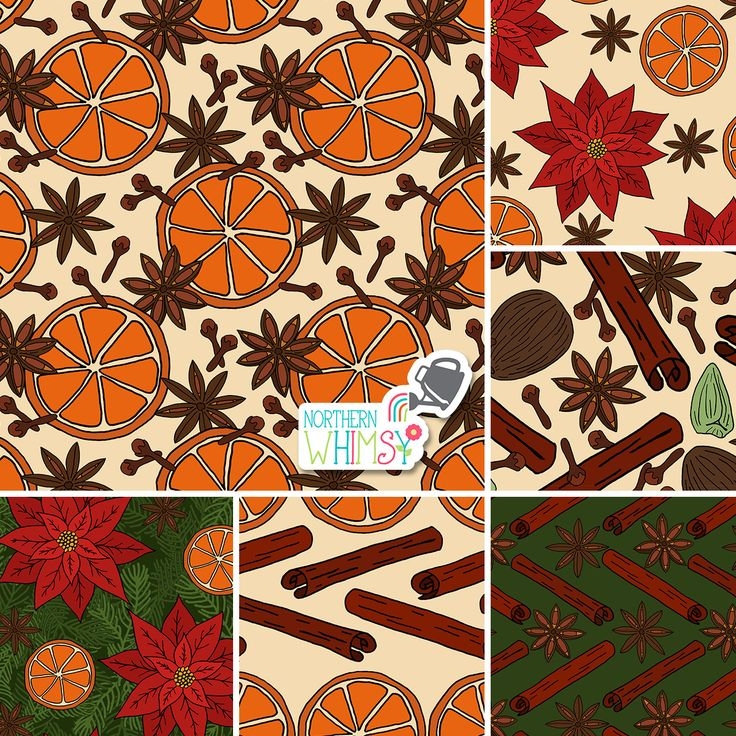 A selection of the patterns from Northern Whimsy's Christmas Spice collection, featuring orange slices, nutmeg, cardamom, cinnamon sticks, cloves, star anise, and poinsettias.  Contact us to discuss licensing!