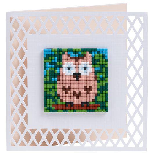 #ideeën #doe-het-zelf #knutselen #pixelhobby #pixelen #hobby #inspiratie #kaarten #3D #creaties #uiltje #owl