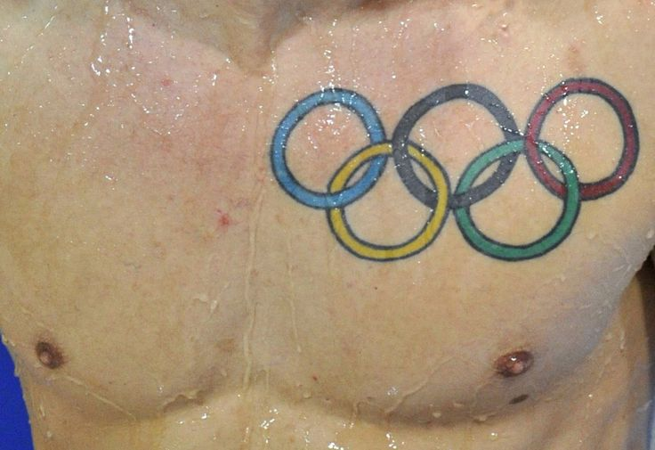 A tattoo of the Olympic rings is seen on Nicholas Robinson Baker of Britain after he dives during the Men's Synchronised 3m Springboard preliminary round at the FINA Diving World Cup at the Olympic Aquatics Centre in London February 20, 2012