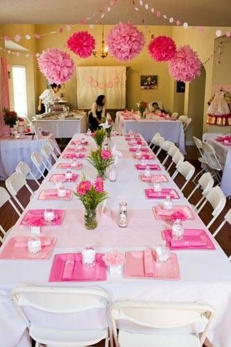 Guest tables Decorated with white linen table clothes Chairs will be accented with pink tool