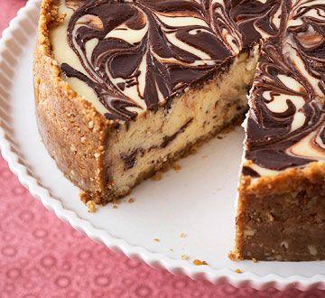 Chocolate-Swirl Cheesecake  Fresh raspberry sauce adds a delightfully tart twist to this rich and creamy dessert.