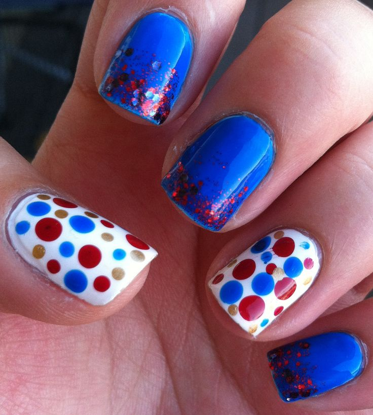 MissJenFABULOUS Nails | ... Diy Nail Art Designs Blue Two Tone Nails With Glitter And Hand Painted