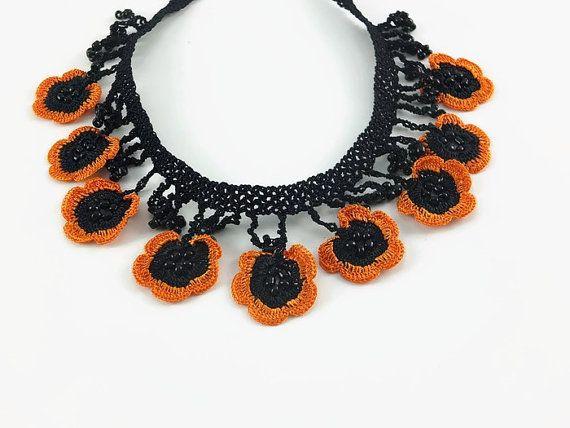 Orange and Black Oya Flowers Crochet Necklace by Nakkashe on Etsy