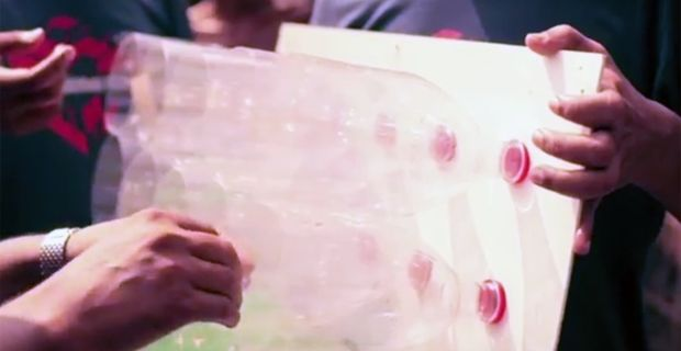 Eco cooler low cost m ade out of plastic bottles.