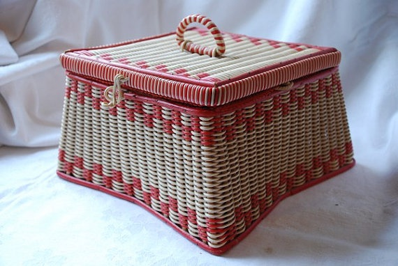 Vintage Red and White Wicker Sewing Basket 1950's