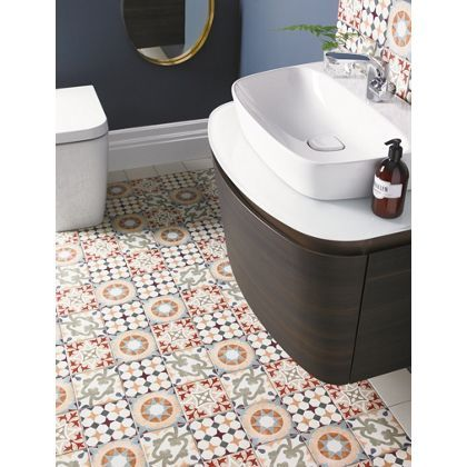 parian glazed porcelain wall floor tiles inspired by victorian geometric patterned screen printed tiles - Bathroom Tiles Homebase