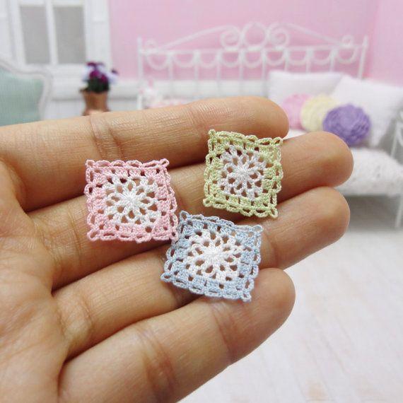 3 miniature crochet potholder or coaster for dollhouse by MiniGio