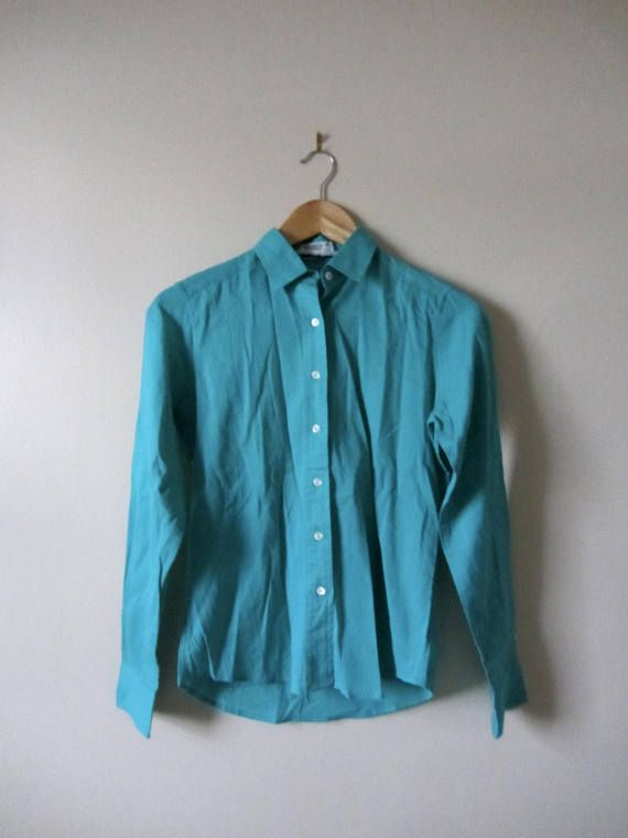 80s Turquoise Mary Ann Restivo Button Up Blouse