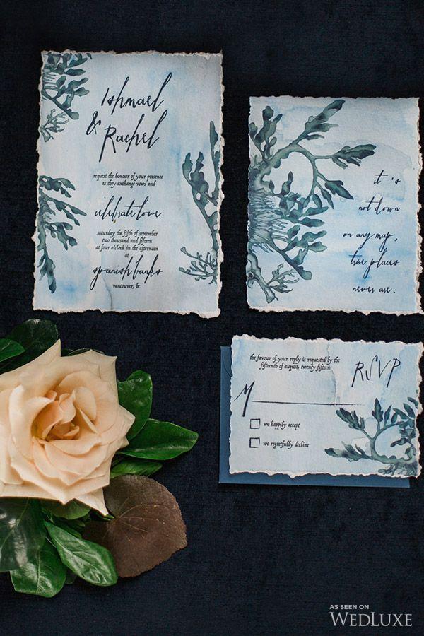 Aquatic inspired #wedding #stationery | Photography: Ophelia Photography | WedLuxe Magazine #luxurywedding