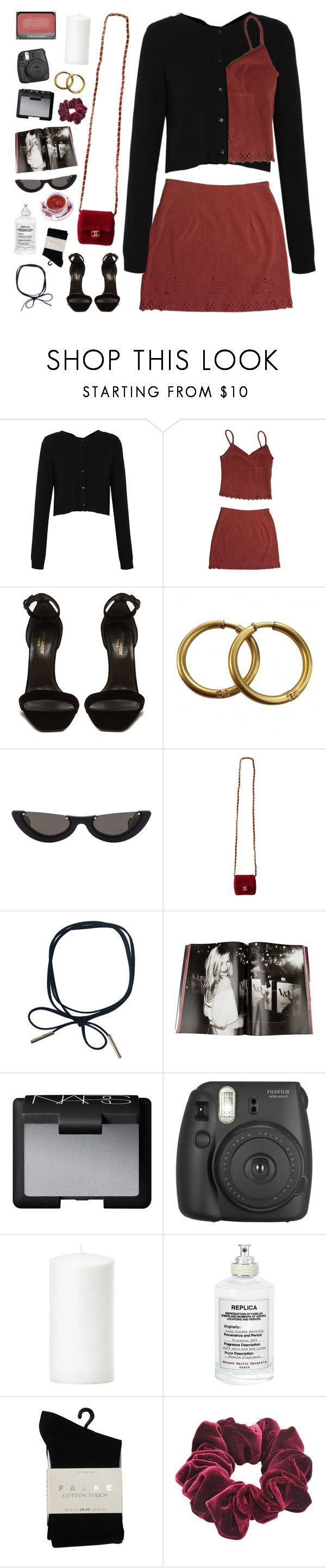 """""""IF ONLY FOR A WHILE"""" by cappvccino ❤ liked on Polyvore featuring Dorothee Schumacher, Yves Saint Laurent, Chanel, PAWAKA, Taschen, NARS Cosmetics, Fujifilm, Maison Margiela, Falke and Wild Pair"""