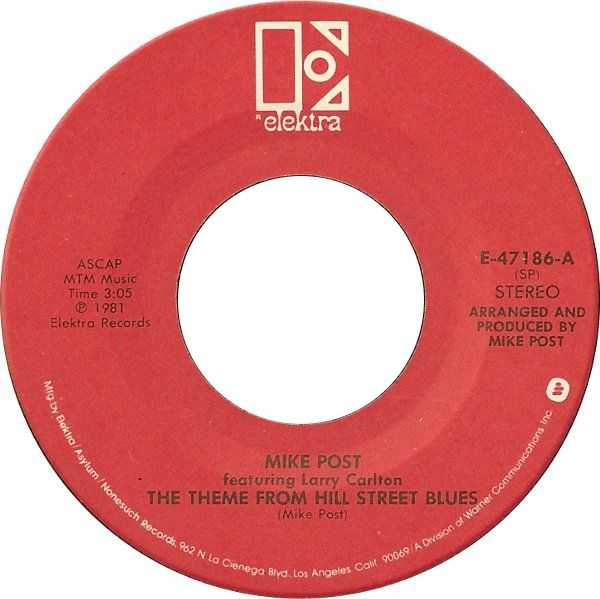 Mike Post The Theme From Hill Street Blues Us Pressing 7 Vinyl 45rpm In Stock Today Hill Street Blues Torch Song Vinyl