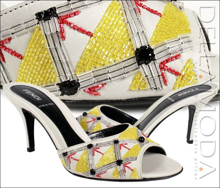 Fendi Shoes for women Embroidery cream Sandals 8X3260 (FF03)     Color: Ivory / Cream      Materials: Leather     Comes with FENDI packaging, dust-bag and original box and all      authenticity cards.     Direct from FENDI.      MADE IN ITALY