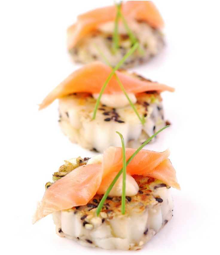 104 best images about food plating on pinterest see more for Salmon canape ideas
