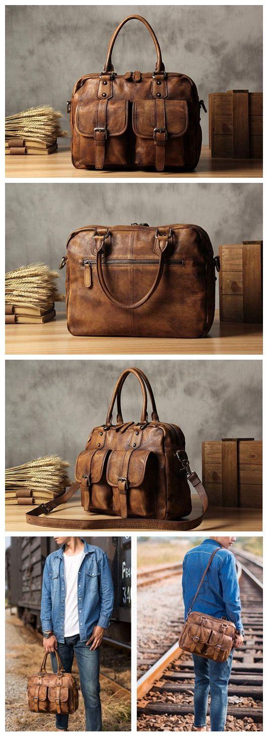 Handmade Leather Briefcase Handbag Men's Laptop Bag Messenger Bag YS101
