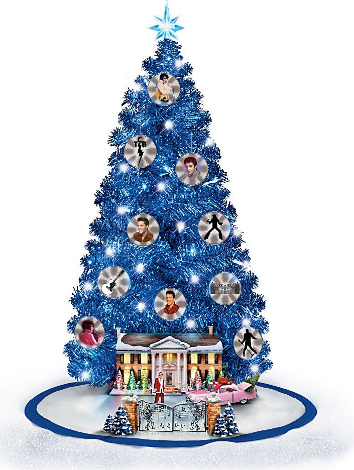 Elvis Presley Graceland Pre Lit Decorated Tabletop Blue Christmas tree - a must-have for the die-hard Elvis fan!