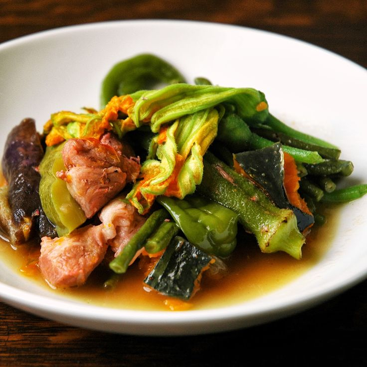 Pinakbet: Filipino Vegetable Stew with squash blossoms, sweet peppers, and long beans!