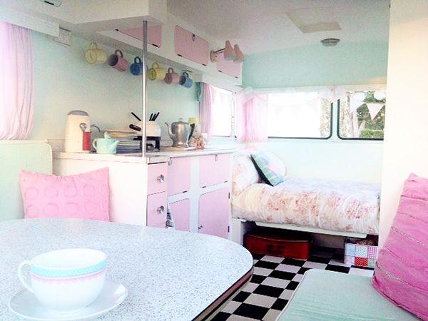 mint vintage caravan interior1 Fabulous Pastel Vintage Caravans