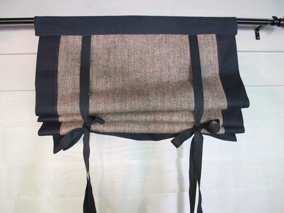 Burlap Roll Up 36 Long Window Shade Tie Up Curtain by BettyandBabs