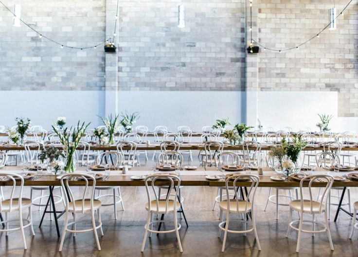 long tables for reception at the joinery west end
