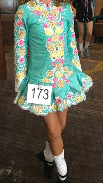 Exquisite Green Elevation Design Irish Dance Dress Solo Costume For Sale