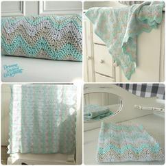 'Diepe chevrons' gehaakt baby deken. Zie blog op zusjeknus  haken, deken