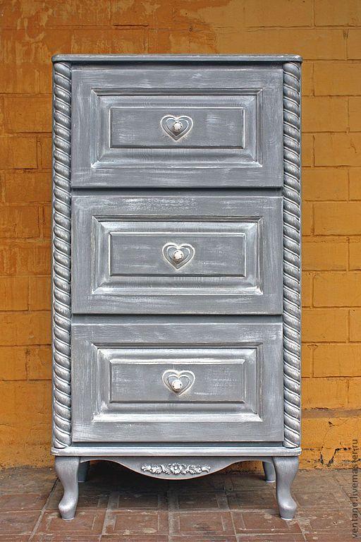 """Купить Комод """"Прованс"""" - серый, комод, прованс, мебель для спальни, мебель для прихожей, сердечки, детская"""