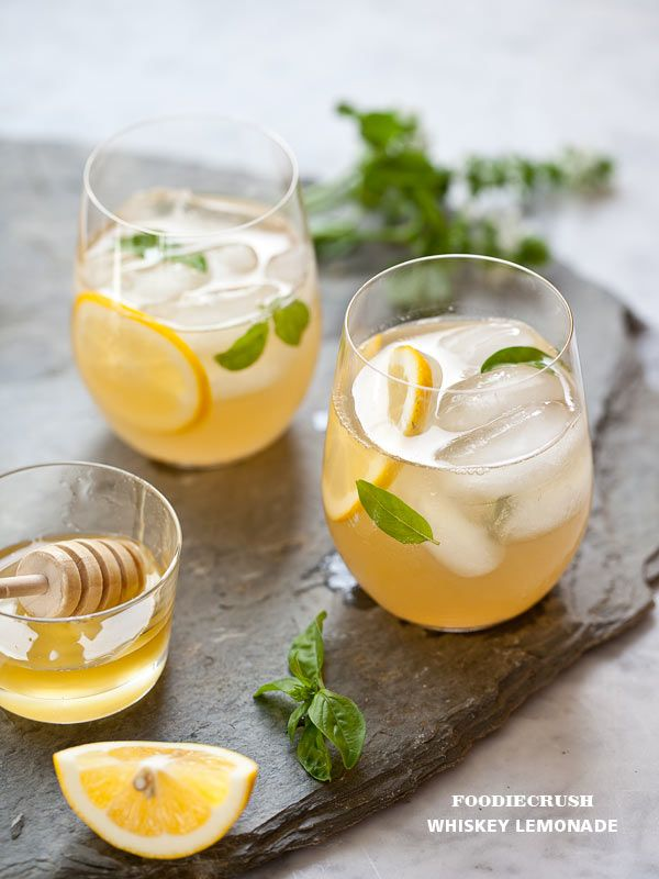 Whiskey Lemonade Recipe with honey simple syrup from FoodieCrush.com