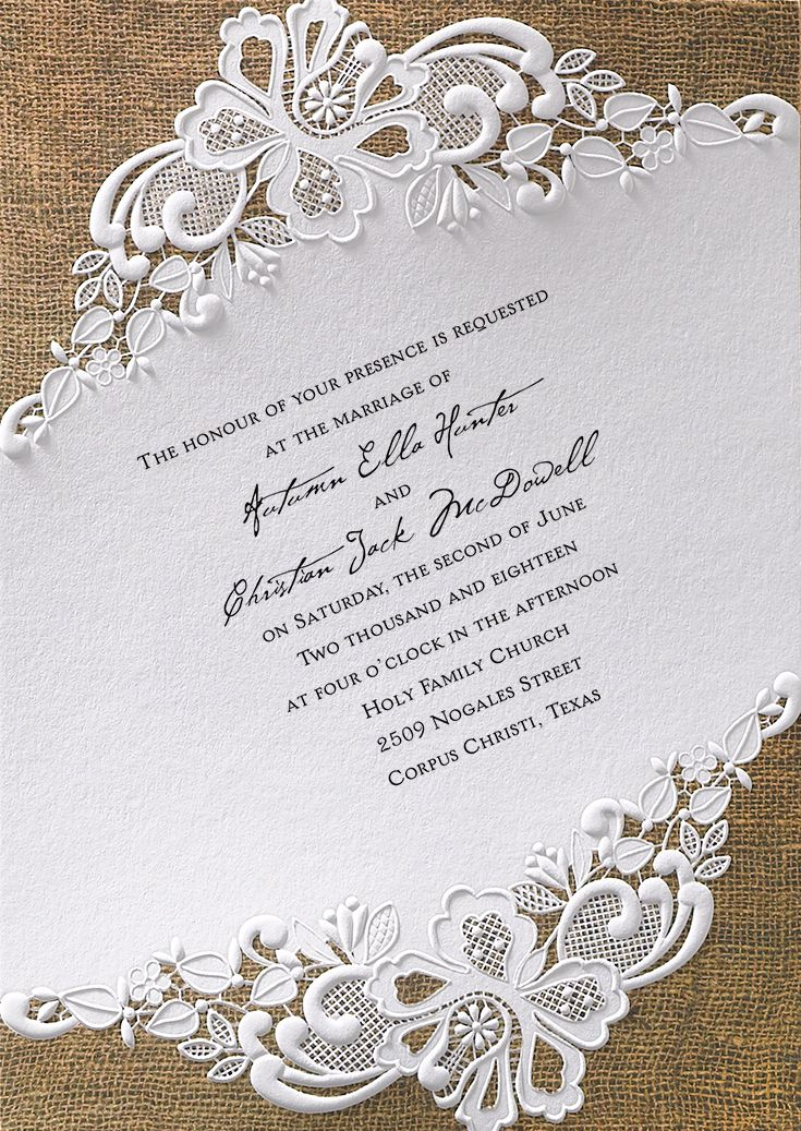 Lace + Burlap wedding invitation. Embossed detail and raised ink printing make this invite stand out from the crowd. From Invitations by Dawn.