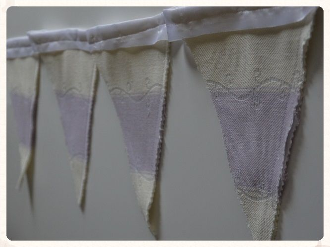 This handmade ivory and lilac bunting is perfect for weddings Each flag is double-sided two flags sewn together and made from thick high quality