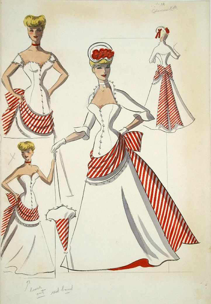 Edith Head sketch for Rosemary Clooney in Red Garters (1954)